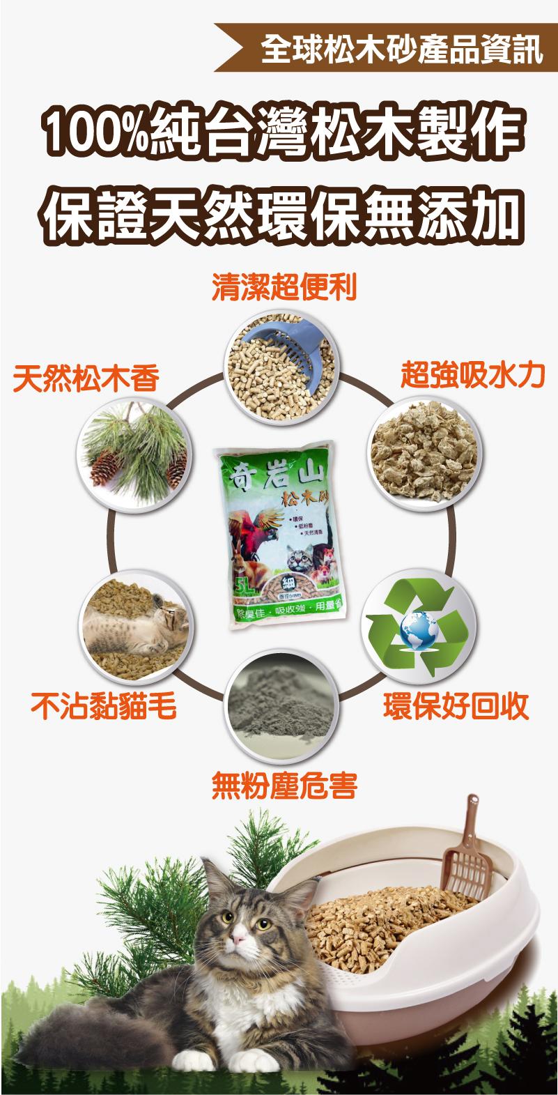 100%純台灣松木製做,保證天然環保無添加│全球寵物奇岩山松木砂系列
