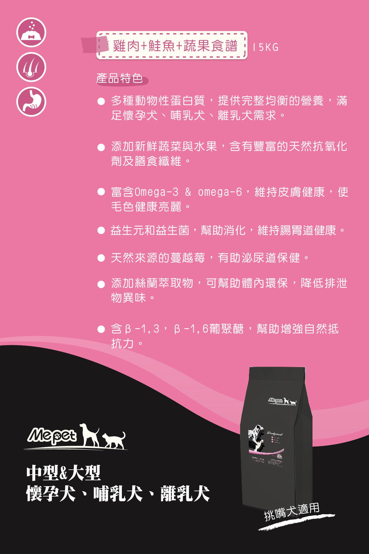 元氣滿滿,提供完整均衡的營養,幫助懷孕、哺乳犬的營養攝取丨MePet全球寵物狗狗健康首選